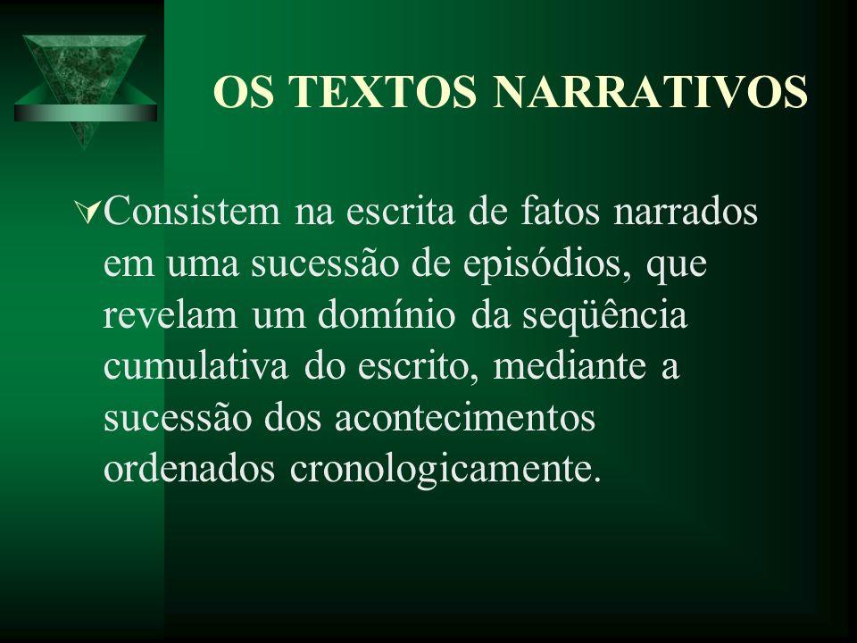 OS TEXTOS NARRATIVOS Consistem na escrita de fatos narrados em uma sucessão de episódios, que revelam um domínio da seqüência cumulativa do escrito, mediante a sucessão dos acontecimentos ordenados cronologicamente.