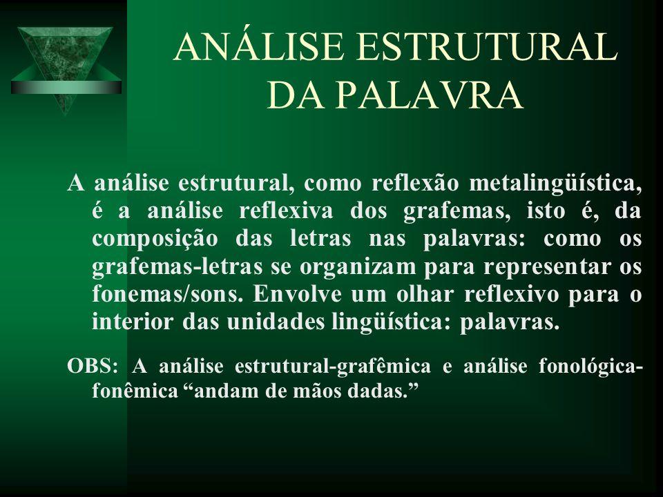 ANÁLISE ESTRUTURAL DA PALAVRA A análise estrutural, como reflexão metalingüística, é a análise reflexiva dos grafemas, isto é, da composição das letra