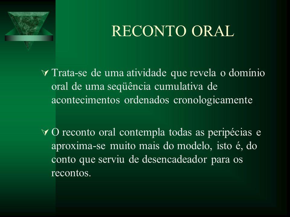 RECONTO ORAL Trata-se de uma atividade que revela o domínio oral de uma seqüência cumulativa de acontecimentos ordenados cronologicamente O reconto or