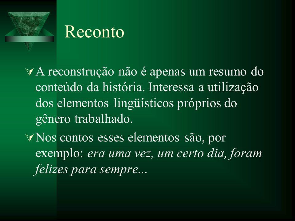 Reconto A reconstrução não é apenas um resumo do conteúdo da história. Interessa a utilização dos elementos lingüísticos próprios do gênero trabalhado