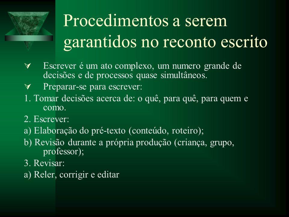 Procedimentos a serem garantidos no reconto escrito Escrever é um ato complexo, um numero grande de decisões e de processos quase simultâneos.