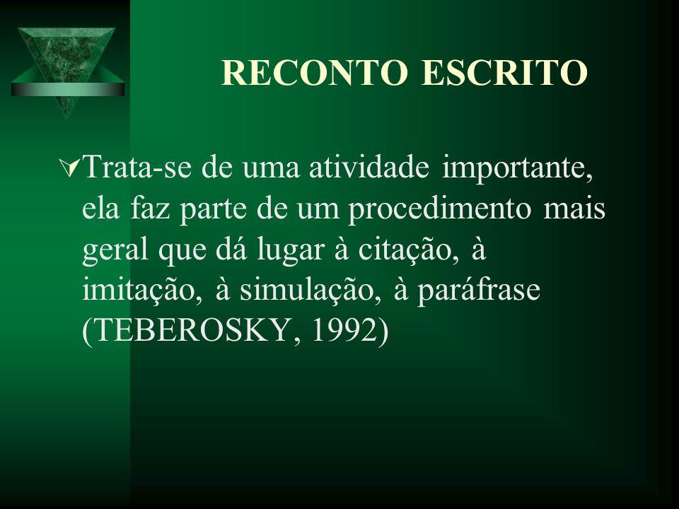 RECONTO ESCRITO Trata-se de uma atividade importante, ela faz parte de um procedimento mais geral que dá lugar à citação, à imitação, à simulação, à paráfrase (TEBEROSKY, 1992)