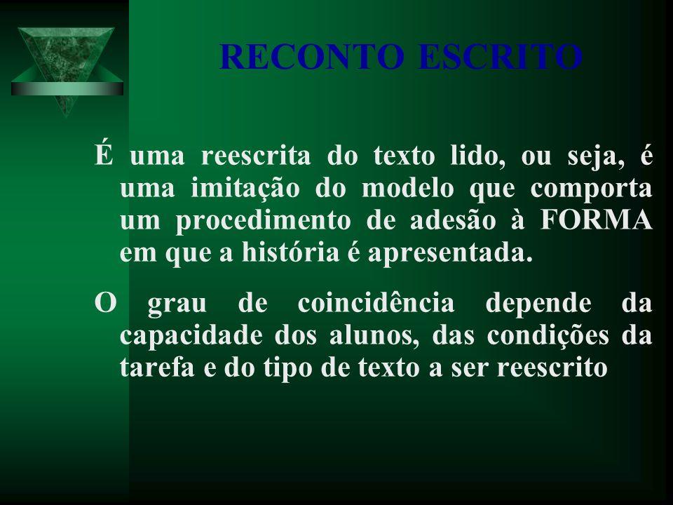 RECONTO ESCRITO É uma reescrita do texto lido, ou seja, é uma imitação do modelo que comporta um procedimento de adesão à FORMA em que a história é apresentada.