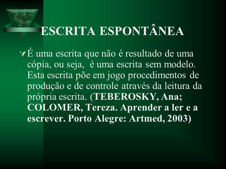 ESCRITA ESPONTÂNEA É uma escrita que não é resultado de uma cópia, ou seja, é uma escrita sem modelo.