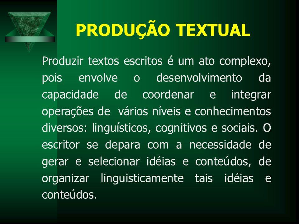 PRODUÇÃO TEXTUAL Produzir textos escritos é um ato complexo, pois envolve o desenvolvimento da capacidade de coordenar e integrar operações de vários