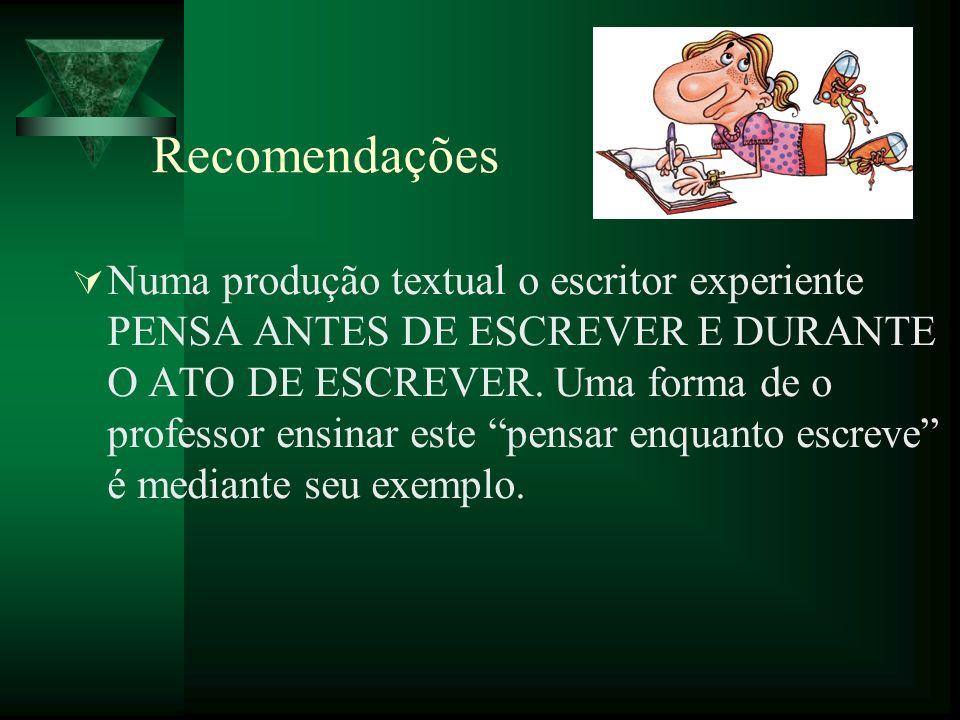 Recomendações Numa produção textual o escritor experiente PENSA ANTES DE ESCREVER E DURANTE O ATO DE ESCREVER. Uma forma de o professor ensinar este p