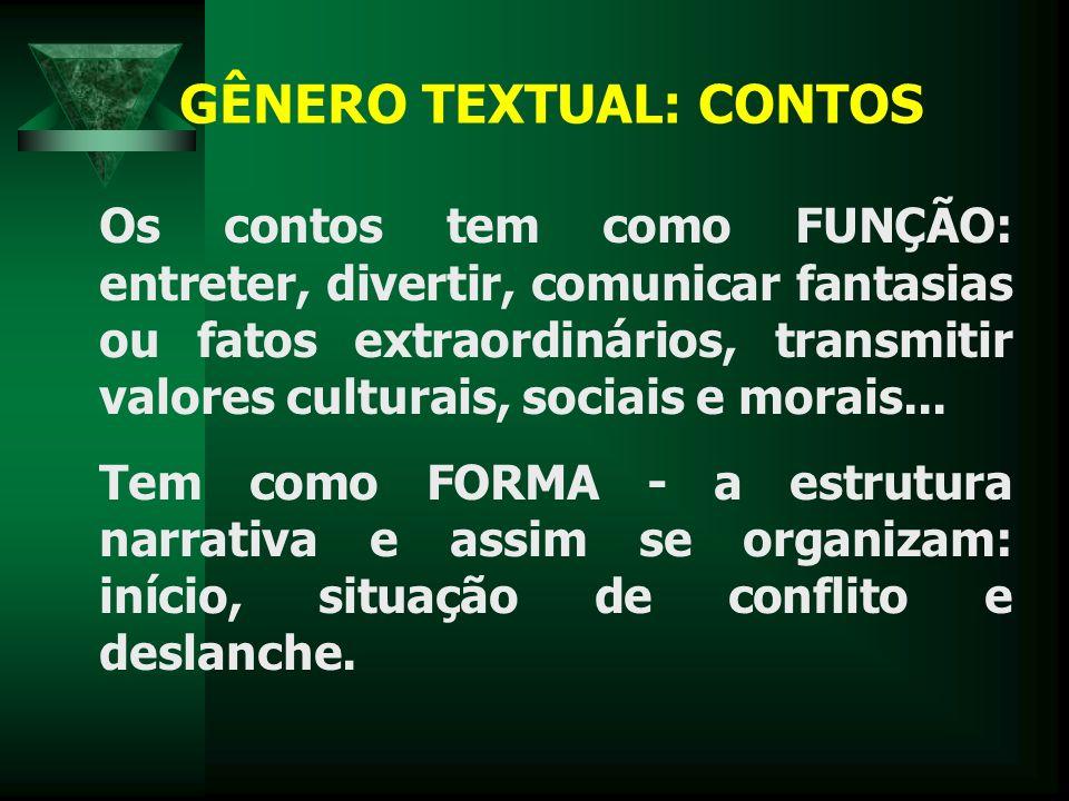 GÊNERO TEXTUAL: CONTOS Os contos tem como FUNÇÃO: entreter, divertir, comunicar fantasias ou fatos extraordinários, transmitir valores culturais, sociais e morais...