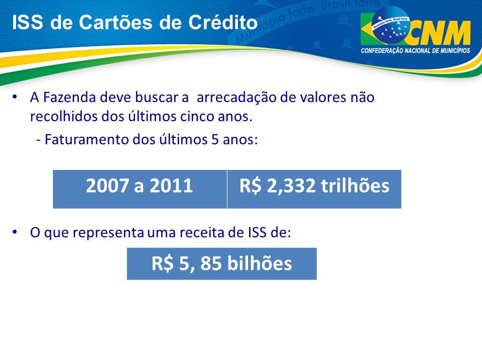 Os Municípios possuem mais de ISS nas operações de cartões a serem arrecadados junto às administradoras de cartões de crédito/débito.