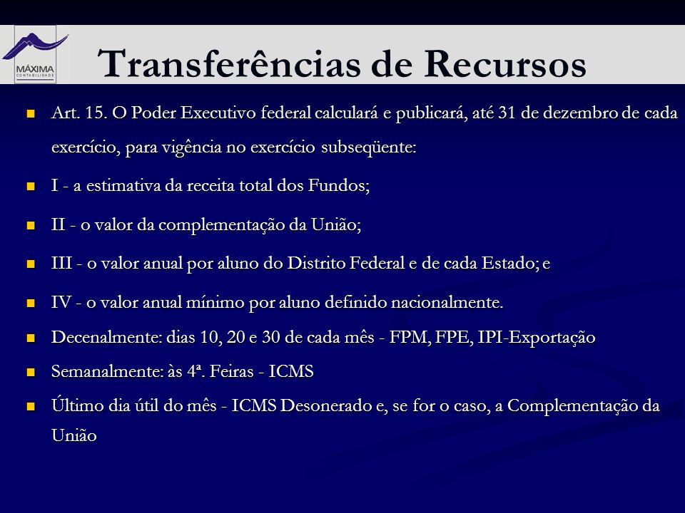 Transferências de Recursos Art. 15. O Poder Executivo federal calculará e publicará, até 31 de dezembro de cada exercício, para vigência no exercício