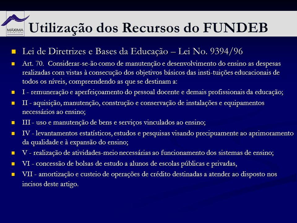Utilização dos Recursos do FUNDEB Lei de Diretrizes e Bases da Educação – Lei No. 9394/96 Lei de Diretrizes e Bases da Educação – Lei No. 9394/96 Art.