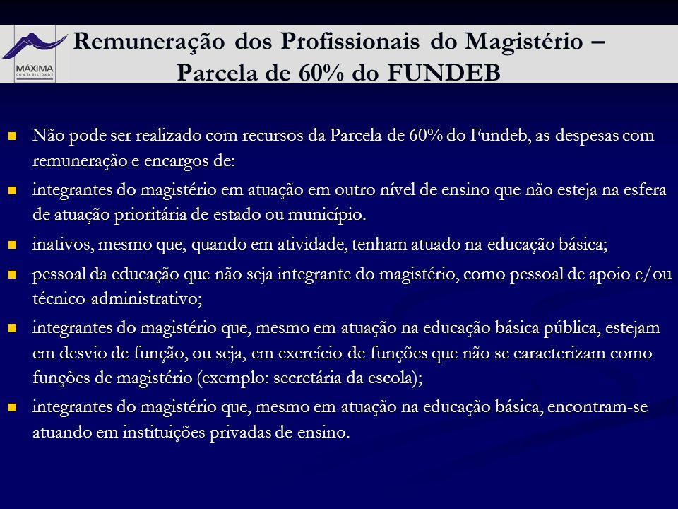 Remuneração dos Profissionais do Magistério – Parcela de 60% do FUNDEB Não pode ser realizado com recursos da Parcela de 60% do Fundeb, as despesas co