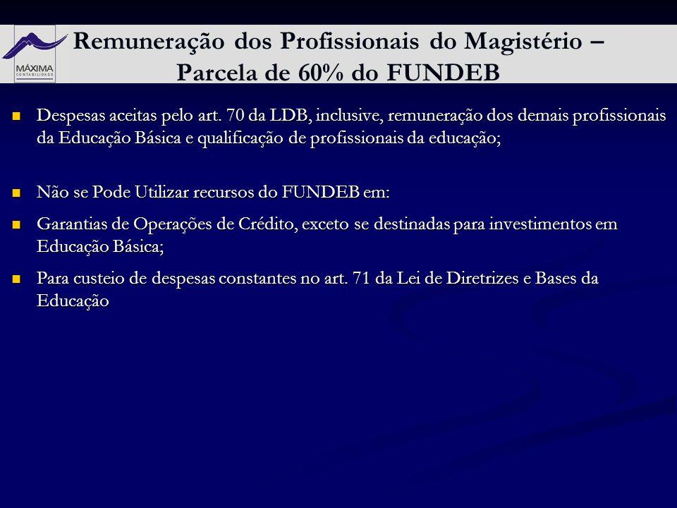 Remuneração dos Profissionais do Magistério – Parcela de 60% do FUNDEB Despesas aceitas pelo art. 70 da LDB, inclusive, remuneração dos demais profiss