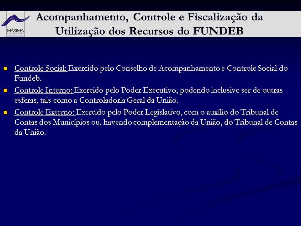 Acompanhamento, Controle e Fiscalização da Utilização dos Recursos do FUNDEB Controle Social: Exercido pelo Conselho de Acompanhamento e Controle Soci
