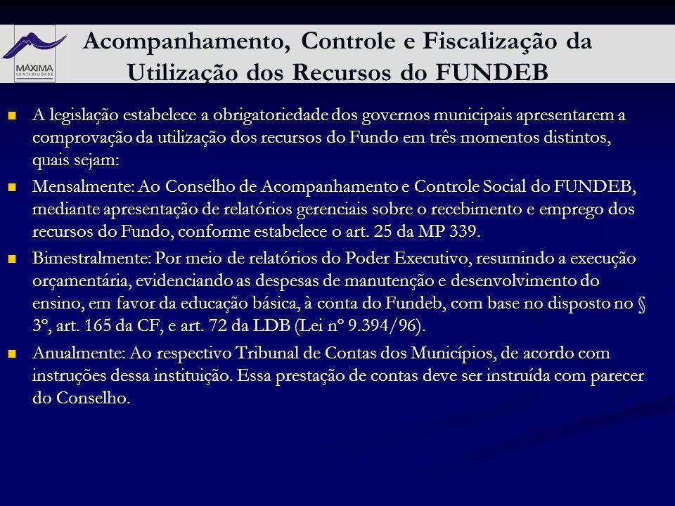 Acompanhamento, Controle e Fiscalização da Utilização dos Recursos do FUNDEB A legislação estabelece a obrigatoriedade dos governos municipais apresen