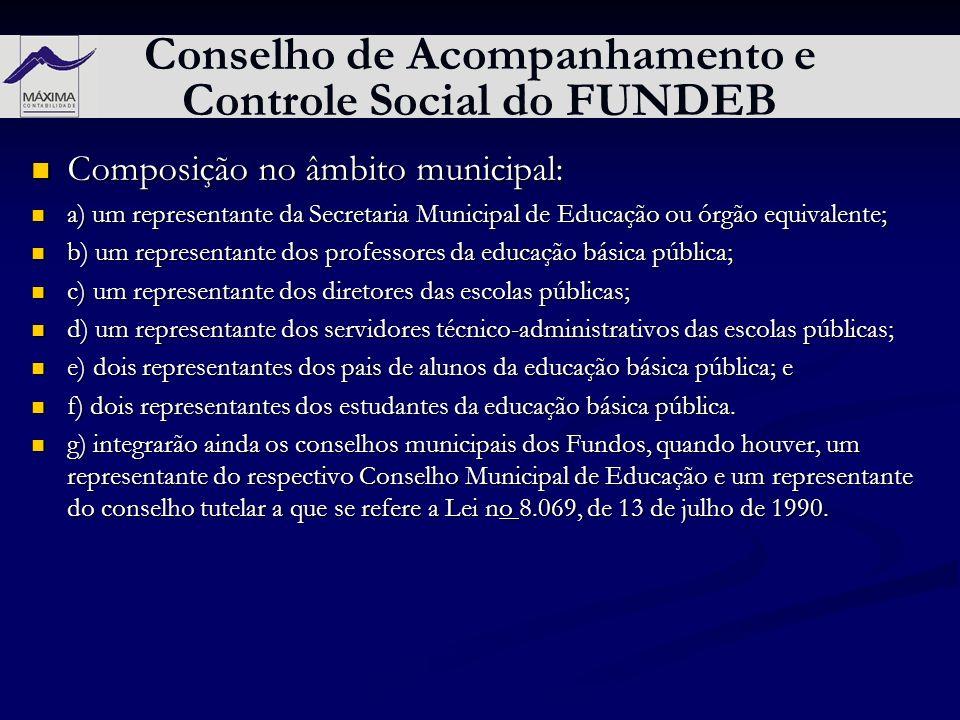 Conselho de Acompanhamento e Controle Social do FUNDEB Composição no âmbito municipal: Composição no âmbito municipal: a) um representante da Secretar