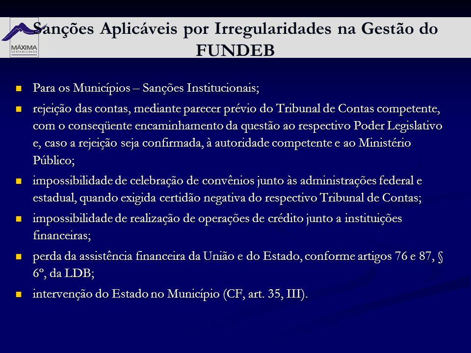 Sanções Aplicáveis por Irregularidades na Gestão do FUNDEB Para os Municípios – Sanções Institucionais; Para os Municípios – Sanções Institucionais; r
