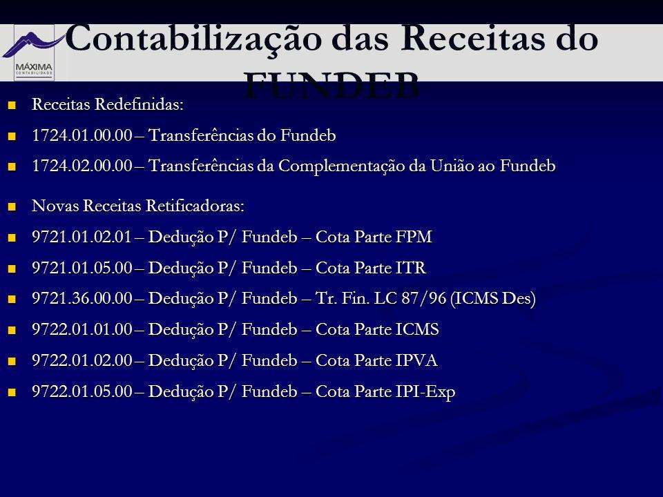 Contabilização das Receitas do FUNDEB Receitas Redefinidas: Receitas Redefinidas: 1724.01.00.00 – Transferências do Fundeb 1724.01.00.00 – Transferênc