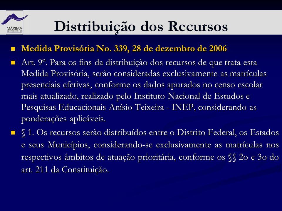 Distribuição dos Recursos Medida Provisória No. 339, 28 de dezembro de 2006 Medida Provisória No. 339, 28 de dezembro de 2006 Art. 9º. Para os fins da