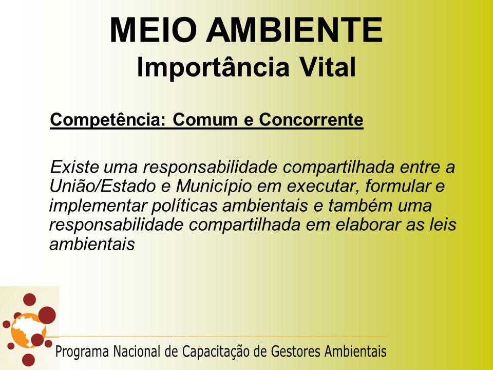 MEIO AMBIENTE Importância Vital Competência: Comum e Concorrente Existe uma responsabilidade compartilhada entre a União/Estado e Município em executa