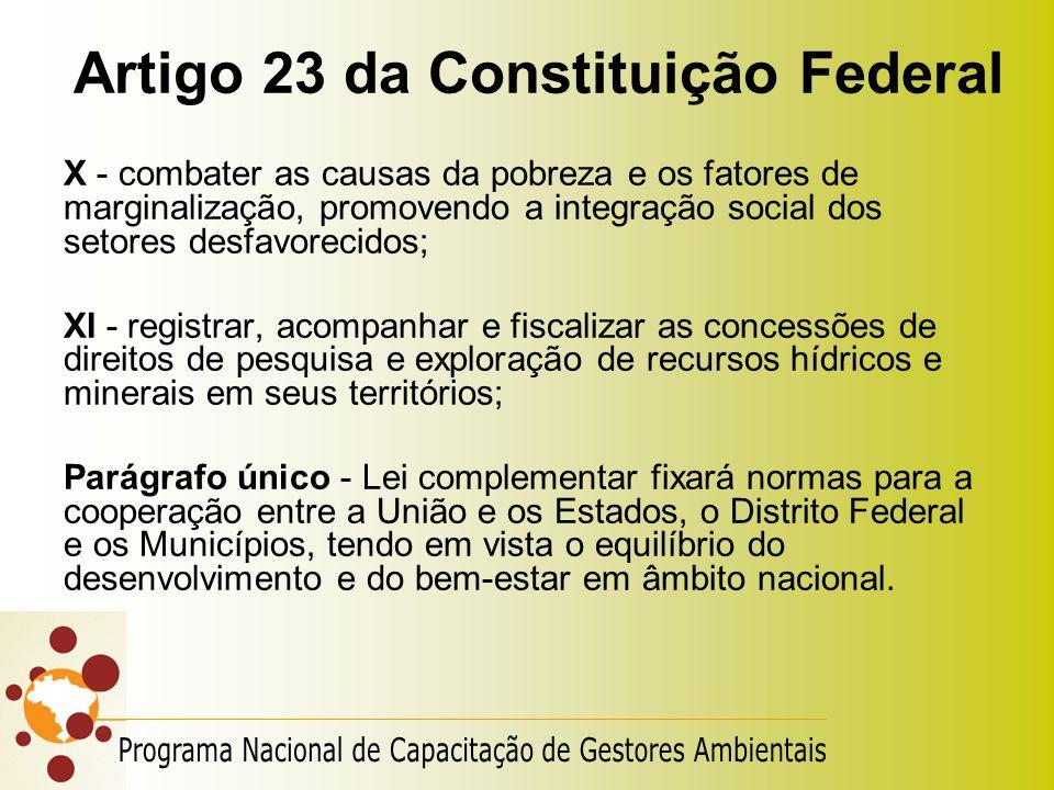 Artigo 23 da Constituição Federal X - combater as causas da pobreza e os fatores de marginalização, promovendo a integração social dos setores desfavo