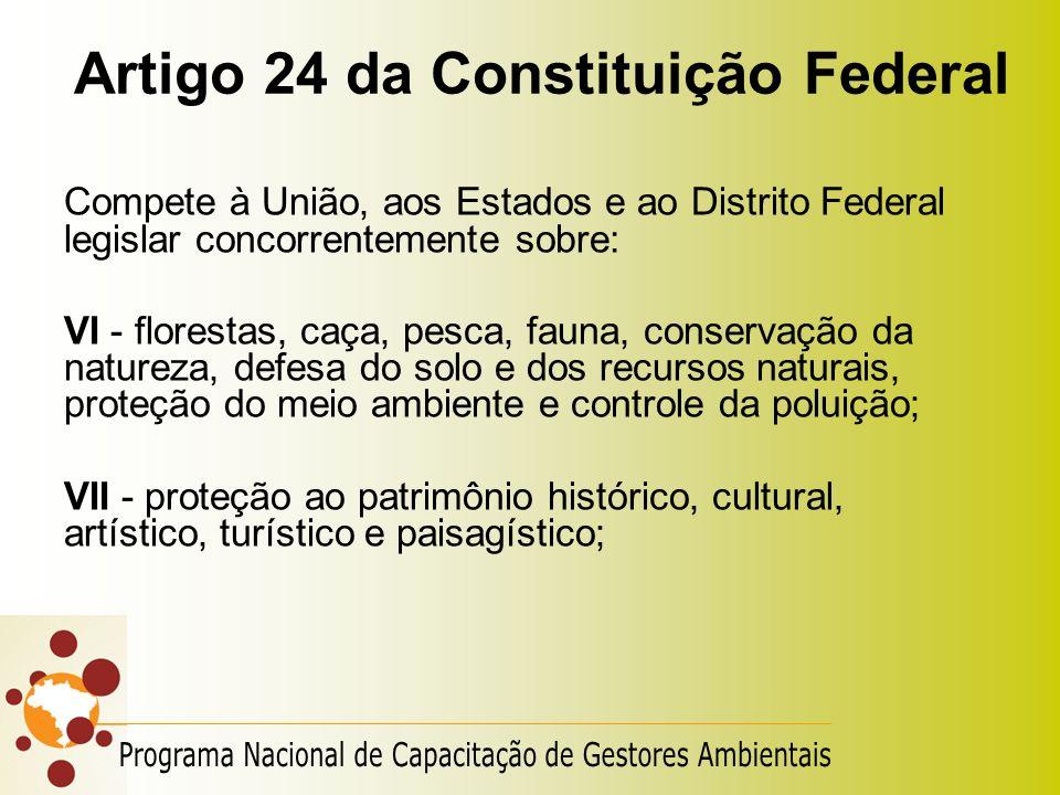 Artigo 24 da Constituição Federal Compete à União, aos Estados e ao Distrito Federal legislar concorrentemente sobre: VI - florestas, caça, pesca, fau