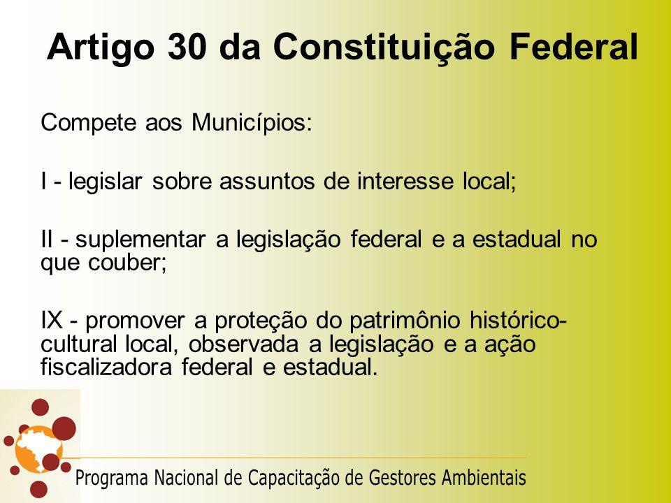Artigo 30 da Constituição Federal Compete aos Municípios: I - legislar sobre assuntos de interesse local; II - suplementar a legislação federal e a es