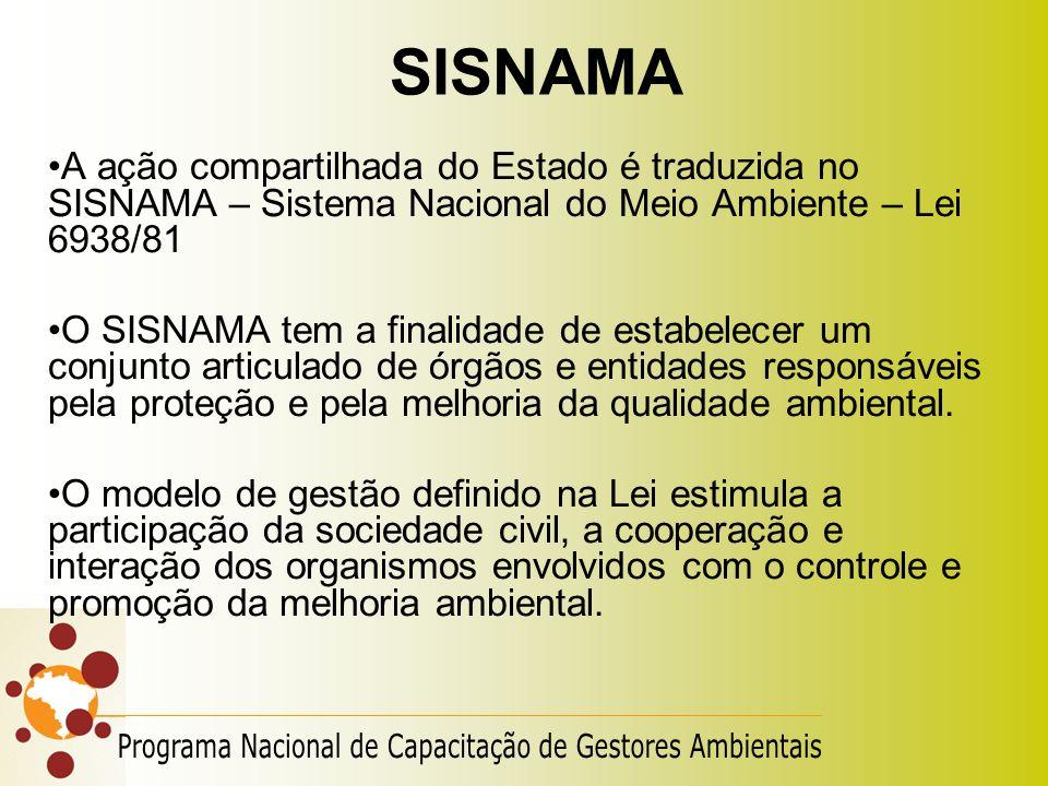 SISNAMA A ação compartilhada do Estado é traduzida no SISNAMA – Sistema Nacional do Meio Ambiente – Lei 6938/81 O SISNAMA tem a finalidade de estabele
