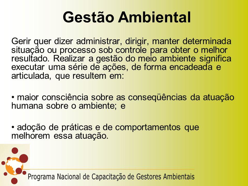 Gestão Ambiental Gerir quer dizer administrar, dirigir, manter determinada situação ou processo sob controle para obter o melhor resultado. Realizar a