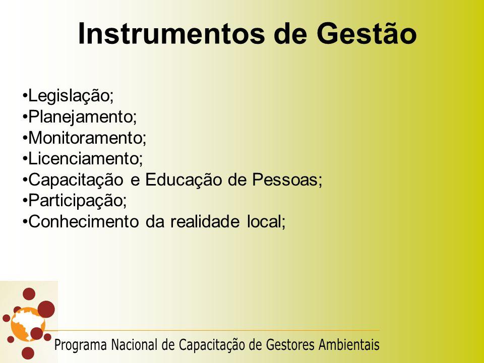Instrumentos de Gestão Legislação; Planejamento; Monitoramento; Licenciamento; Capacitação e Educação de Pessoas; Participação; Conhecimento da realid