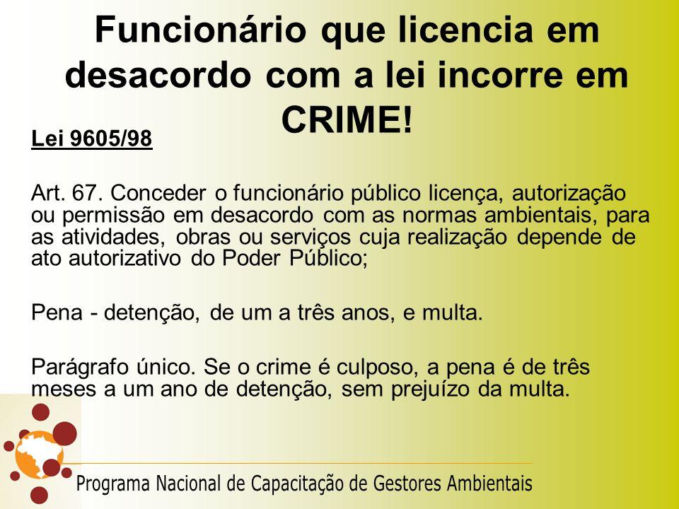 Funcionário que licencia em desacordo com a lei incorre em CRIME! Lei 9605/98 Art. 67. Conceder o funcionário público licença, autorização ou permissã