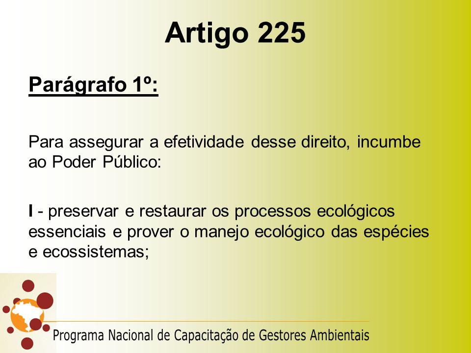 Artigo 225 Parágrafo 1º: Para assegurar a efetividade desse direito, incumbe ao Poder Público: I - preservar e restaurar os processos ecológicos essen