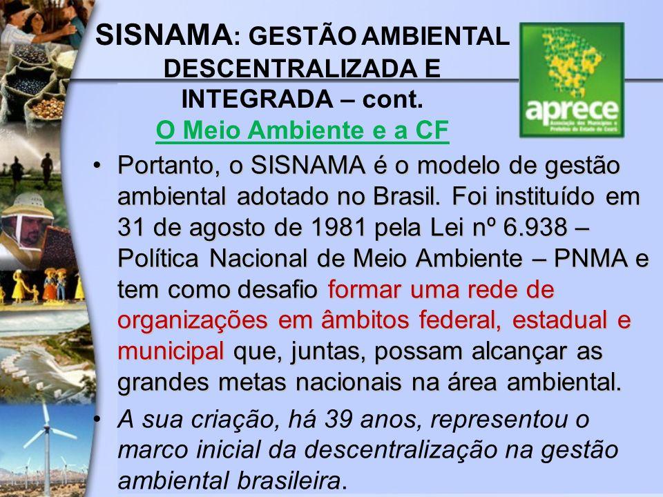 Portanto, o SISNAMA é o modelo de gestão ambiental adotado no Brasil. Foi instituído em 31 de agosto de 1981 pela Lei nº 6.938 – Política Nacional de