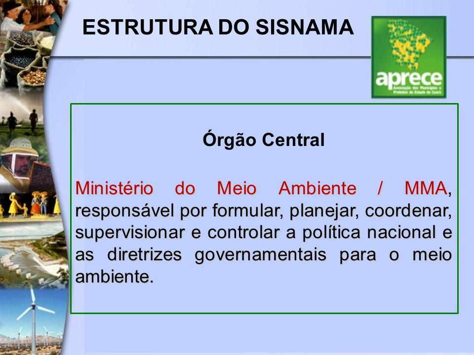 ESTRUTURA DO SISNAMA Órgão Central Ministério do Meio Ambiente / MMA, responsável por formular, planejar, coordenar, supervisionar e controlar a polít