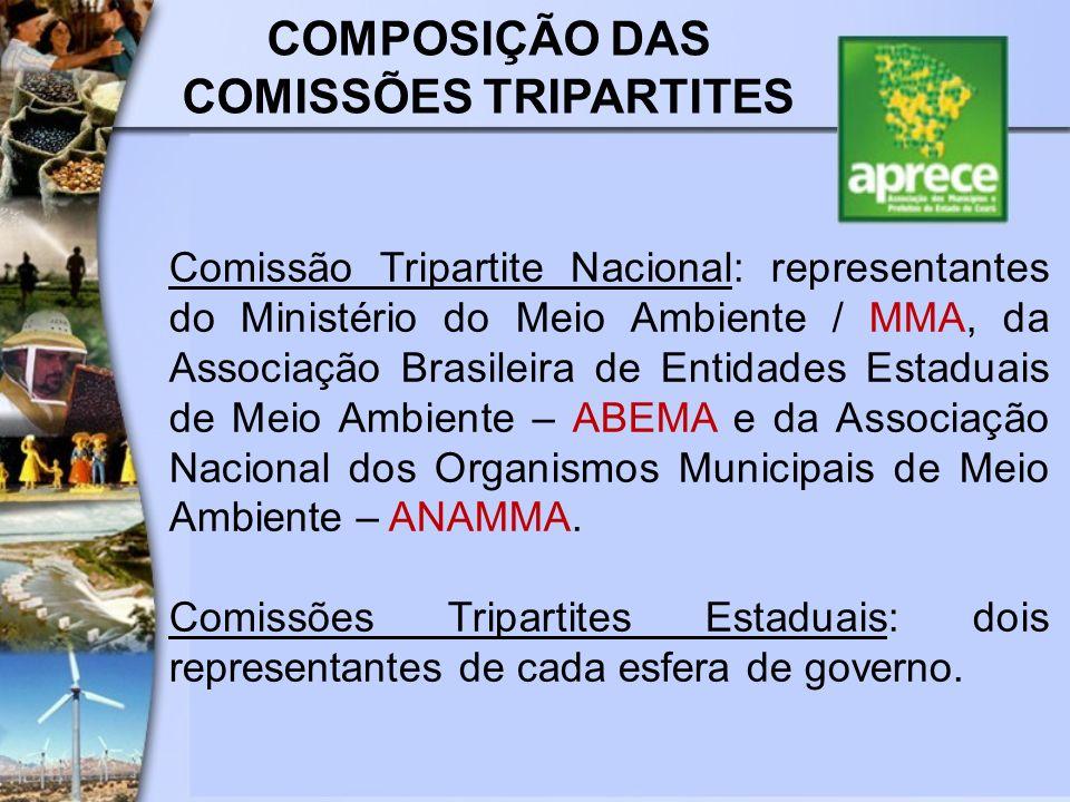 COMPOSIÇÃO DAS COMISSÕES TRIPARTITES Comissão Tripartite Nacional: representantes do Ministério do Meio Ambiente / MMA, da Associação Brasileira de En