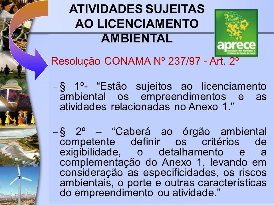 ATIVIDADES SUJEITAS AO LICENCIAMENTO AMBIENTAL Resolução CONAMA Nº 237/97 - Art. 2º – § 1º- Estão sujeitos ao licenciamento ambiental os empreendiment