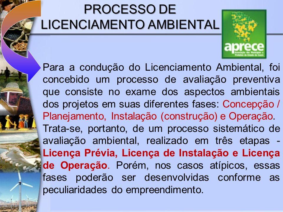 PROCESSO DE LICENCIAMENTO AMBIENTAL Para a condução do Licenciamento Ambiental, foi concebido um processo de avaliação preventiva que consiste no exam