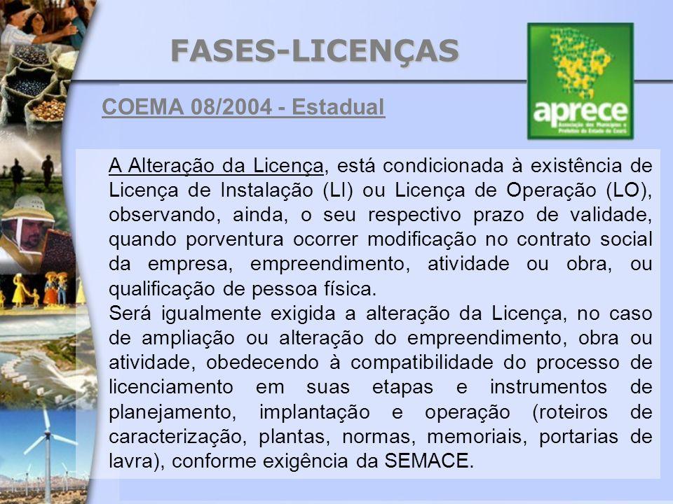 FASES-LICENÇAS COEMA 08/2004 - Estadual A Alteração da Licença, está condicionada à existência de Licença de Instalação (LI) ou Licença de Operação (L