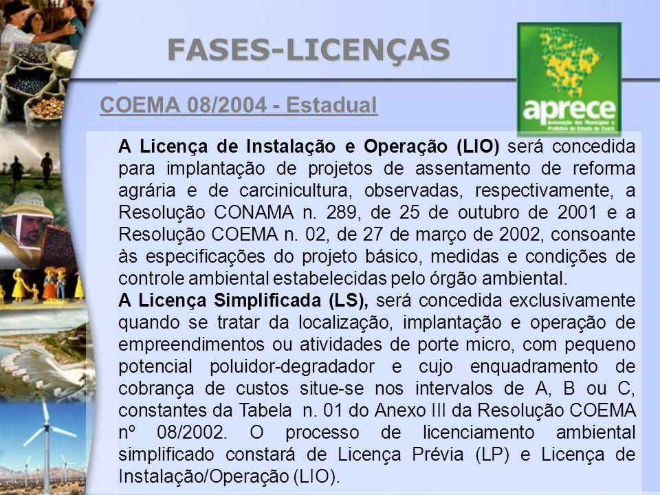 FASES-LICENÇAS A Licença de Instalação e Operação (LIO) será concedida para implantação de projetos de assentamento de reforma agrária e de carcinicul