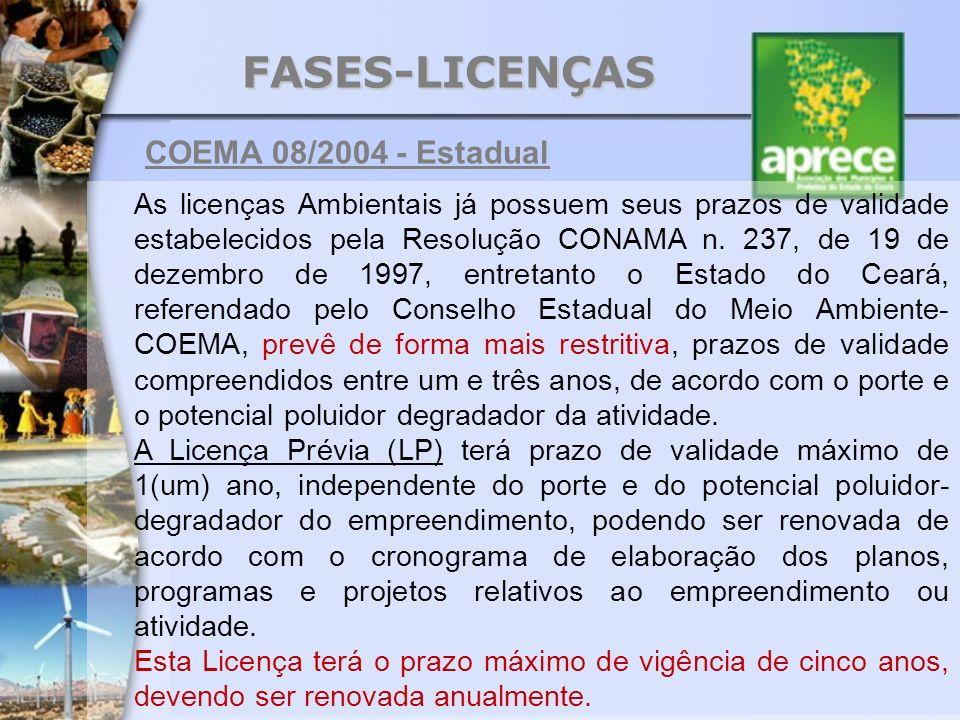 FASES-LICENÇAS As licenças Ambientais já possuem seus prazos de validade estabelecidos pela Resolução CONAMA n. 237, de 19 de dezembro de 1997, entret