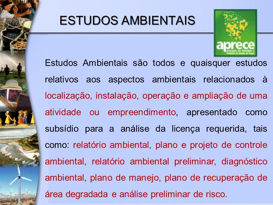 ESTUDOS AMBIENTAIS Estudos Ambientais são todos e quaisquer estudos relativos aos aspectos ambientais relacionados à localização, instalação, operação