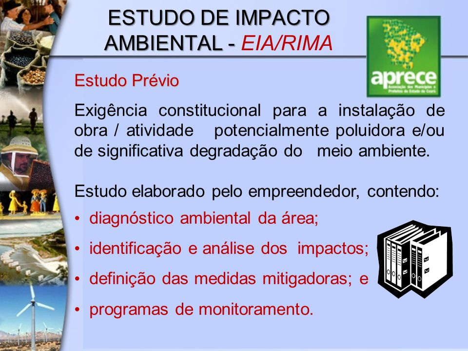 ESTUDO DE IMPACTO AMBIENTAL - ESTUDO DE IMPACTO AMBIENTAL - EIA/RIMA Estudo Prévio Exigência constitucional para a instalação de obra / atividade pote