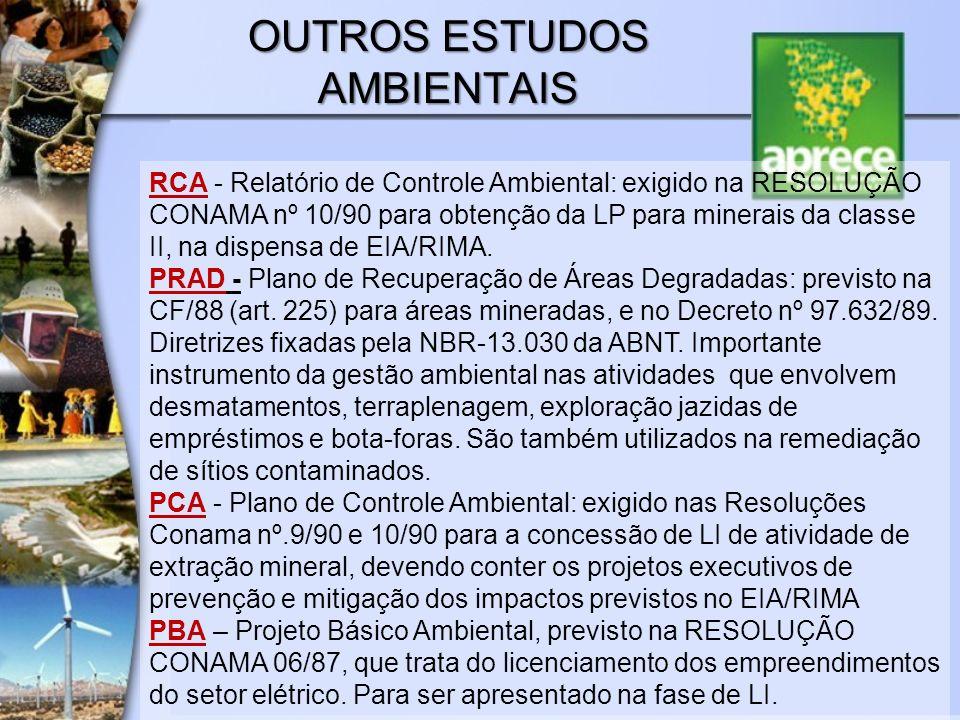 OUTROS ESTUDOS AMBIENTAIS RCA - Relatório de Controle Ambiental: exigido na RESOLUÇÃO CONAMA nº 10/90 para obtenção da LP para minerais da classe II,