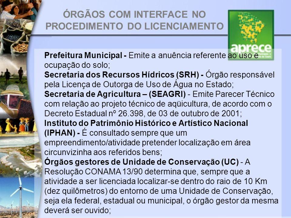 ÓRGÃOS COM INTERFACE NO PROCEDIMENTO DO LICENCIAMENTO Prefeitura Municipal - Emite a anuência referente ao uso e ocupação do solo; Secretaria dos Recu
