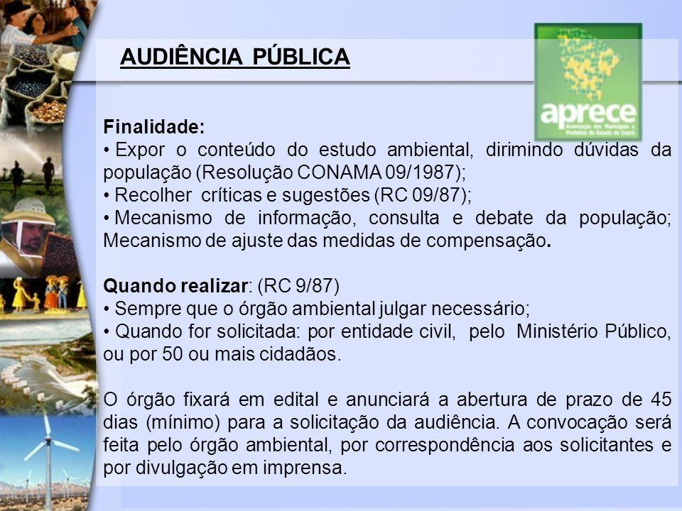 AUDIÊNCIA PÚBLICA Finalidade: Expor o conteúdo do estudo ambiental, dirimindo dúvidas da população (Resolução CONAMA 09/1987); Recolher críticas e sug