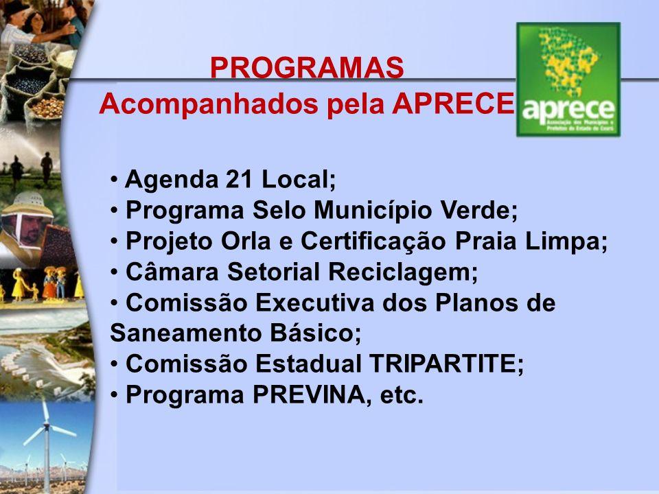 PROGRAMAS Acompanhados pela APRECE Agenda 21 Local; Programa Selo Município Verde; Projeto Orla e Certificação Praia Limpa; Câmara Setorial Reciclagem