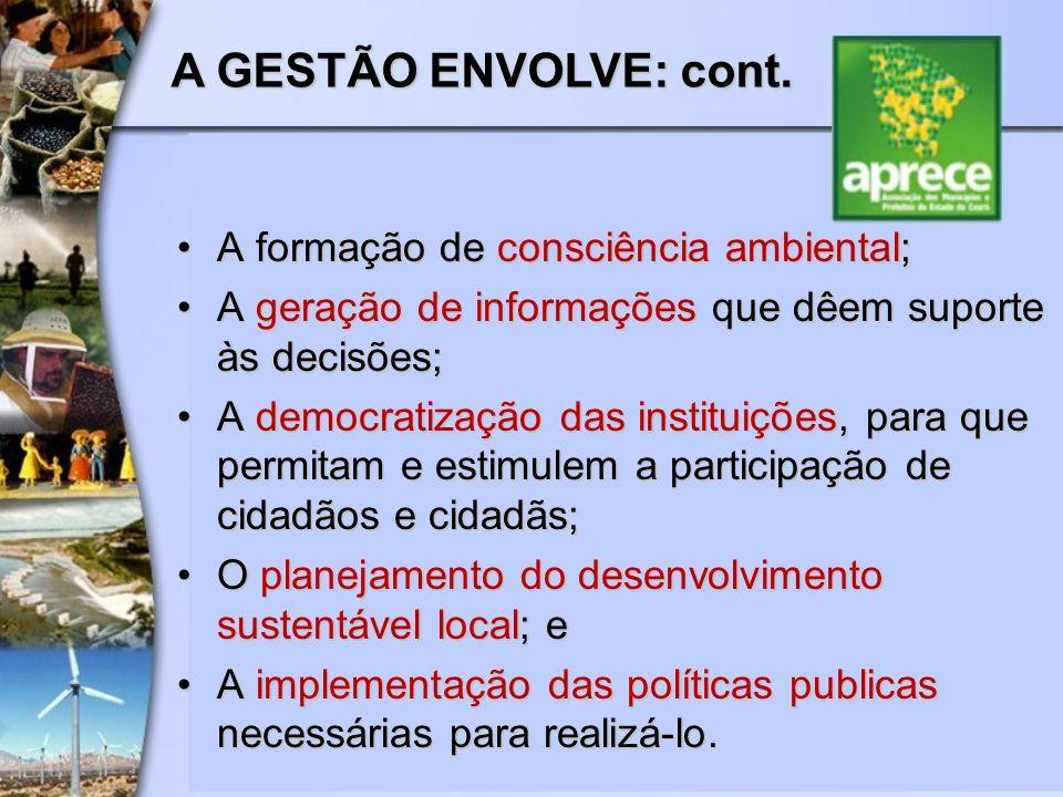 A formação de consciência ambiental;A formação de consciência ambiental; A geração de informações que dêem suporte às decisões;A geração de informaçõe