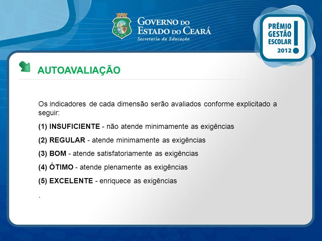 AUTOAVALIAÇÃO Os indicadores de cada dimensão serão avaliados conforme explicitado a seguir: (1) INSUFICIENTE - não atende minimamente as exigências (