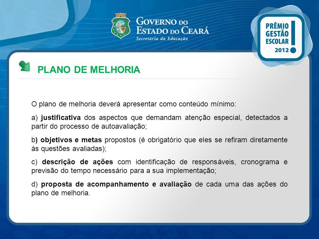 PLANO DE MELHORIA O plano de melhoria deverá apresentar como conteúdo mínimo: a) justificativa dos aspectos que demandam atenção especial, detectados