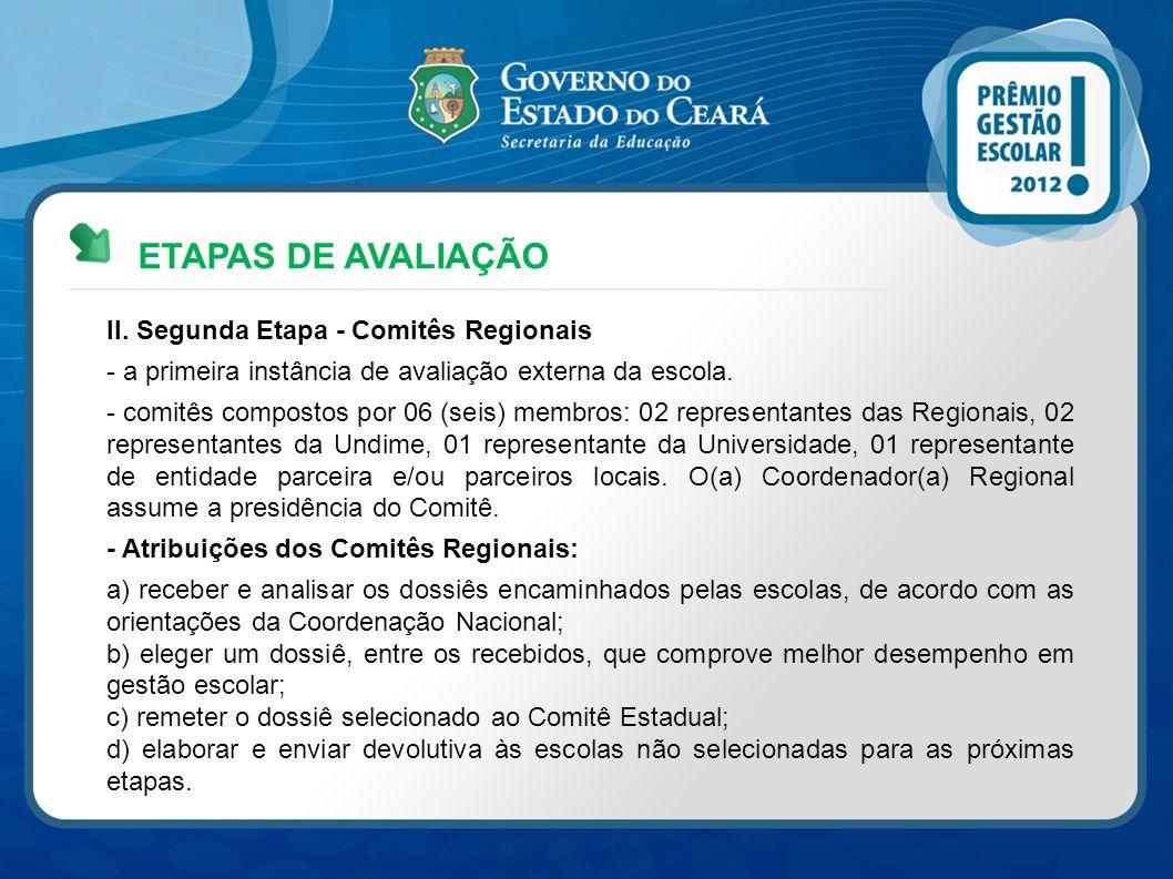 ETAPAS DE AVALIAÇÃO II. Segunda Etapa - Comitês Regionais - a primeira instância de avaliação externa da escola. - comitês compostos por 06 (seis) mem