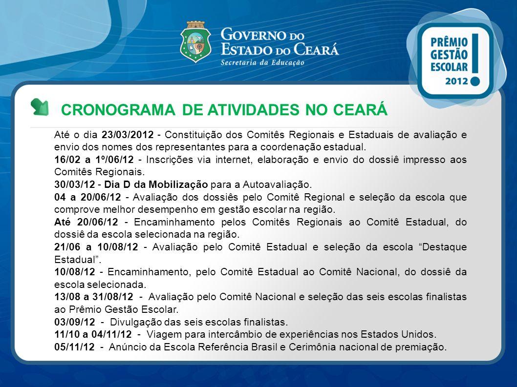 CRONOGRAMA DE ATIVIDADES NO CEARÁ Até o dia 23/03/2012 - Constituição dos Comitês Regionais e Estaduais de avaliação e envio dos nomes dos representan